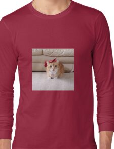 Cute cat with a bow Long Sleeve T-Shirt