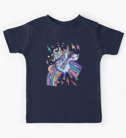 Left Handed Electric Guitar Unicorn & Rainbow - Heavy Metal Black Kids Tee