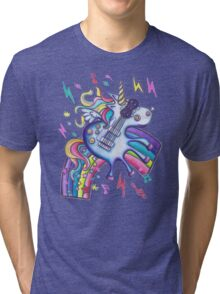 Left Handed Electric Guitar Unicorn & Rainbow - Heavy Metal Black Tri-blend T-Shirt