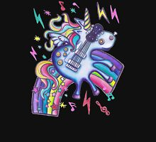 Left Handed Electric Guitar Unicorn & Rainbow - Heavy Metal Black Unisex T-Shirt