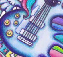 Left Handed Electric Guitar Unicorn & Rainbow - Heavy Metal Black Sticker