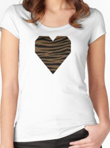 0166 Dark Brown or Otter Brown Tiger Women's Fitted Scoop T-Shirt