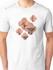 Quatrefoil Deer Wren Bird Animals Peach Faux Leather Suede Buck Nature Look Newmarket Statement Piece Nature Art Unisex T-Shirt