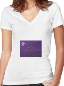 Dragon at Night Women's Fitted V-Neck T-Shirt