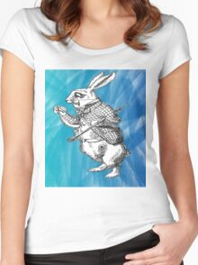 White Rabbit from Alice's Adventures in Wonderland in Blue Watercolor Background Women's Fitted Scoop T-Shirt