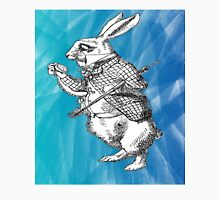 White Rabbit from Alice's Adventures in Wonderland in Blue Watercolor Background Unisex T-Shirt