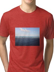 Florida beach with white clouds and waves Tri-blend T-Shirt