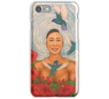 Spring Amazed By The Hummingbirds Drawing iPhone Case/Skin