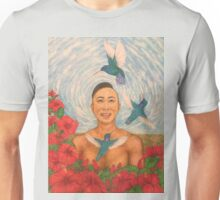 Spring Amazed By The Hummingbirds Drawing Unisex T-Shirt