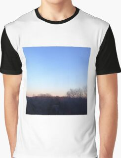 Blue and pink sky over tree outline Graphic T-Shirt