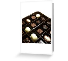 Assorted chocolate candy for dessert Greeting Card