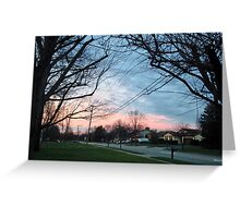 Blue and pink sky with trees and grass Greeting Card