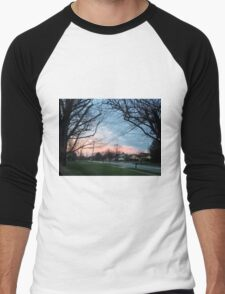Blue and pink sky with trees and grass Men's Baseball ¾ T-Shirt