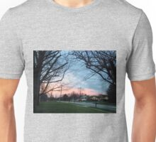 Blue and pink sky with trees and grass Unisex T-Shirt