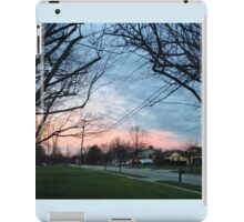 Blue and pink sky with trees and grass iPad Case/Skin