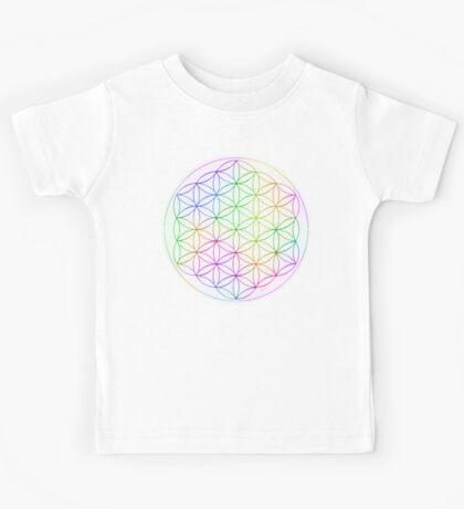 Flower of Life - White Rainbow Kids Tee
