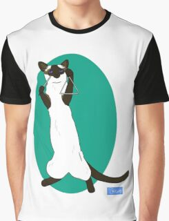 Triangle Playing Cat Graphic T-Shirt