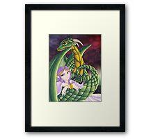 Elf Girl and Dragon Framed Print