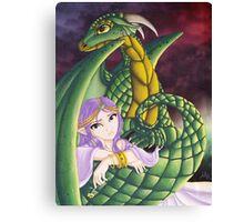 Elf Girl and Dragon Canvas Print