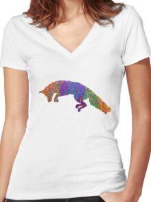 Rainbow Fox Women's Fitted V-Neck T-Shirt