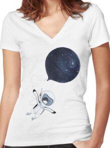 Penguin fly Women's Fitted V-Neck T-Shirt