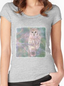 Barred Owl Pastel Oil Painting Women's Fitted Scoop T-Shirt