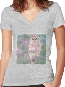 Barred Owl Pastel Oil Painting Women's Fitted V-Neck T-Shirt