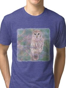 Barred Owl Pastel Oil Painting Tri-blend T-Shirt