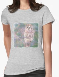 Barred Owl Pastel Oil Painting Womens Fitted T-Shirt