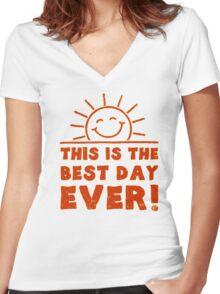 sun smile Women's Fitted V-Neck T-Shirt