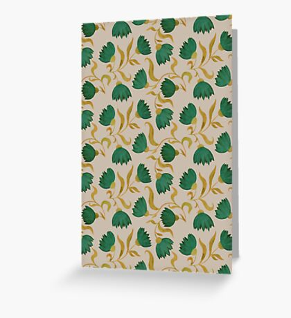 pattern with green flowers Greeting Card