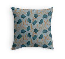 blue flower pattern dark Throw Pillow