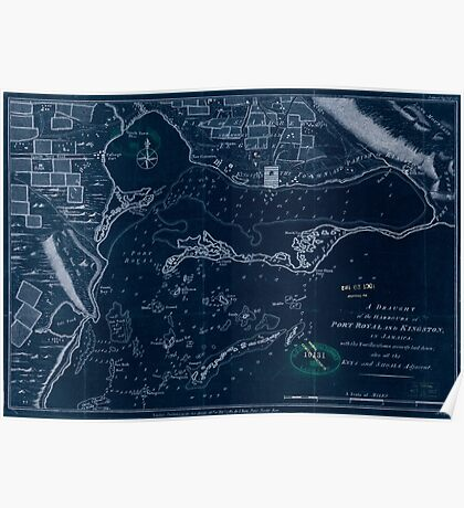 American Revolutionary War Era Maps 1750-1786 027 A draught of the harbours of Port Royal and Kingston in Jamaica with the fortifications correctly laid down Inverted Poster