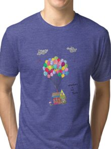 Up, Adventure is out there, travel Tri-blend T-Shirt