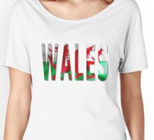 Wales Word With Flag Texture Women's Relaxed Fit T-Shirt