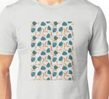 blue flower pattern T-Shirt