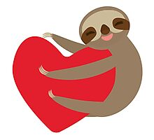 Sloth on a heart Photographic Print