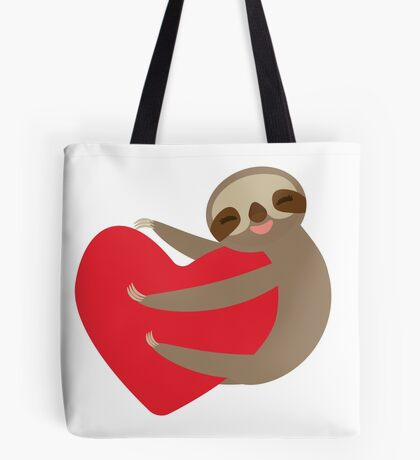 Sloth on a heart Tote Bag