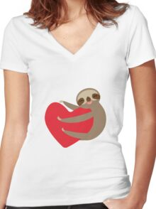 Sloth on a heart Women's Fitted V-Neck T-Shirt