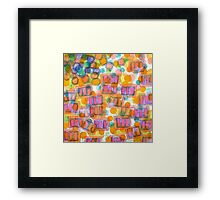 Happy Pattern with Pink Blocks Framed Print