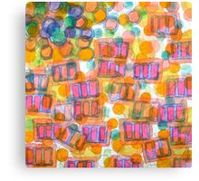 Happy Pattern with Pink Blocks Canvas Print