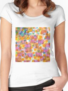 Happy Pattern with Pink Blocks Women's Fitted Scoop T-Shirt