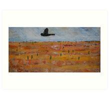 Black Cockatoo in A Tangerine Desert Art Print