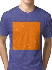 Starscape Trading Card Pattern Orange Tri-blend T-Shirt