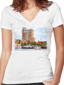 Boats at Inner Harbor Baltimore MD Women's Fitted V-Neck T-Shirt