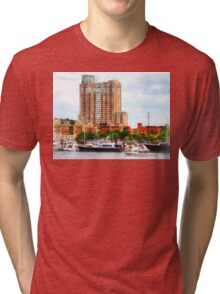 Boats at Inner Harbor Baltimore MD Tri-blend T-Shirt