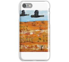 Australian Desert with two Black cockatoos in flight iPhone Case/Skin