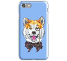 Funny cartoon hipster dog Akita Inu iPhone Case/Skin