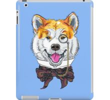 Funny cartoon hipster dog Akita Inu iPad Case/Skin