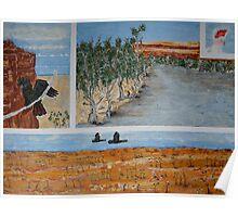 Four Birds in Four Desert Scenes Poster